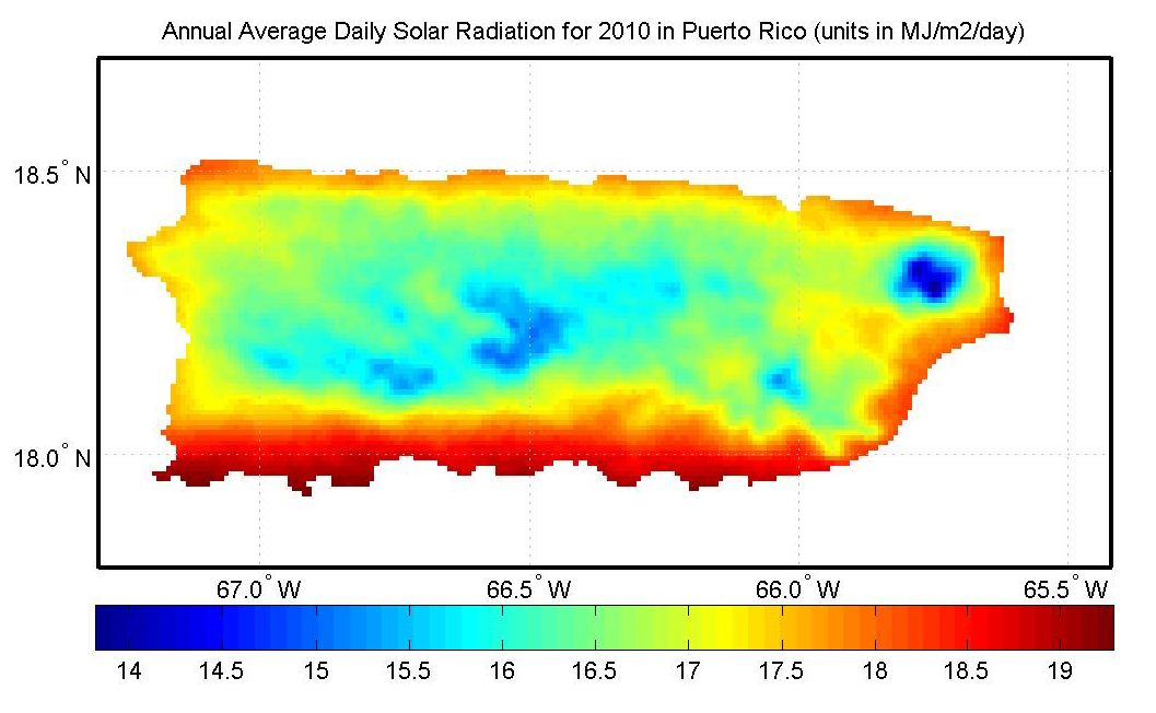 SOLAR RADIATION DATA FOR THE NORTHERN CARIBBEAN REGION PRAGWATER - Us insolation map